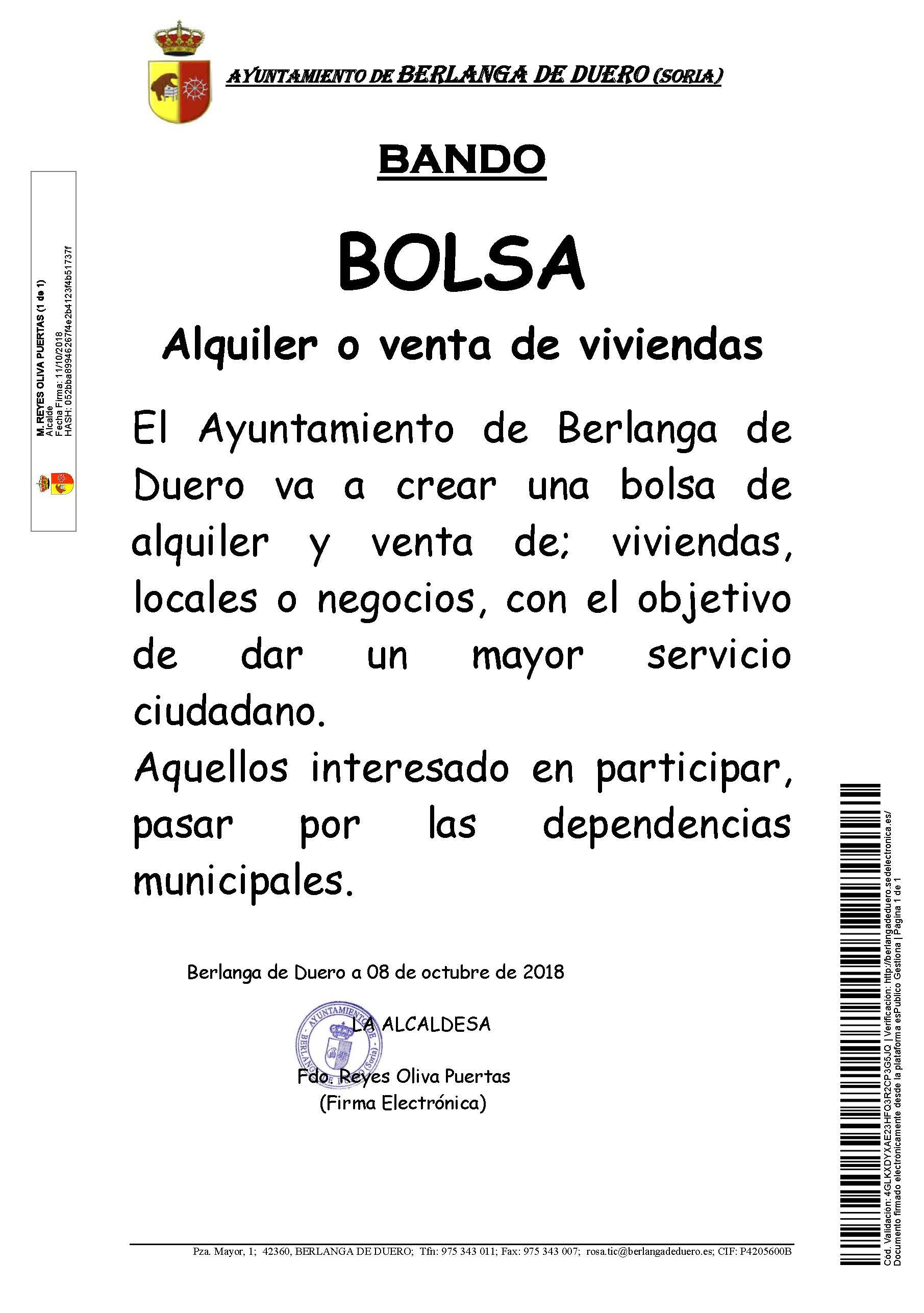 Bolsa Alquiler O Venta De Viviendas Ayuntamiento De Berlanga De Duero